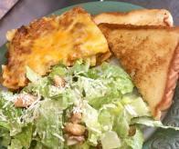 Lasagna and Caesar Salad and Garlic Toast at O'Sheas Pub and Eatery