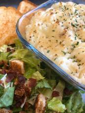 Shepherds Pie with Caesar Salad and Garlic Bread at O'Sheas Pub and Eatery
